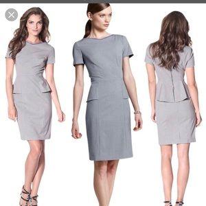NWT Elie Tahari Gray Sybil Peplum Dress Size 12